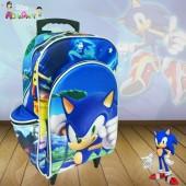 Mochila Escolar c/ carrinho Sem Alça tema Sonic