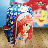 Mochila Escolar c/ carrinho Sem Alça tema Ariel
