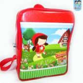 mochila g Quadrada chapelzinho vermelho