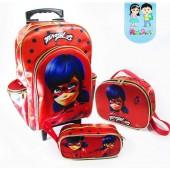.Kit escolar com carrinho Sem Alça tema LadyBug