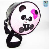 Bolsinha redonda tema panda com alça tira colo